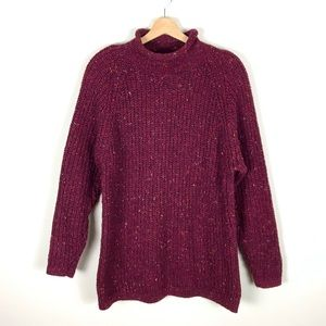 VINTAGE Chunky Knit Red Speckled Sweater - S